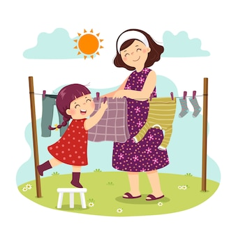Caricatura de madre e hija colgando la ropa en el patio trasero. niños haciendo tareas domésticas en concepto de hogar.