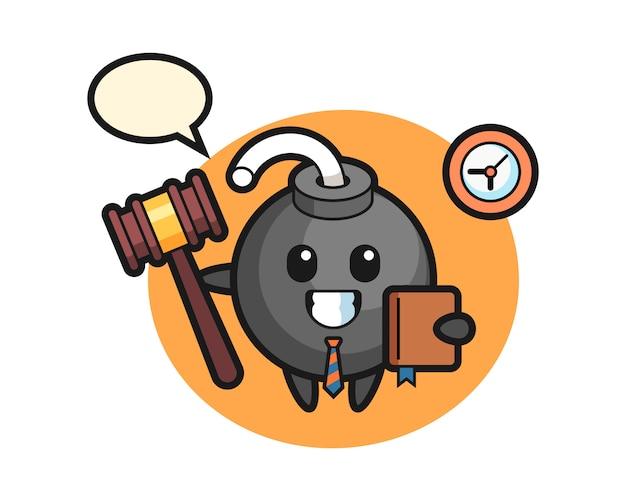 Caricatura de mascota de bomba como juez