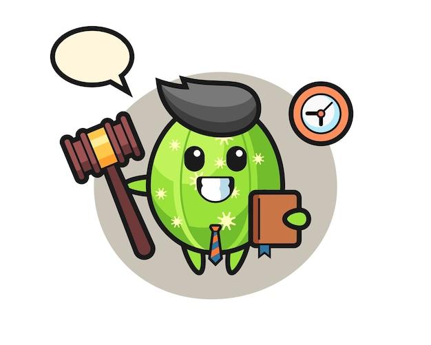 Caricatura de mascota de cactus como juez