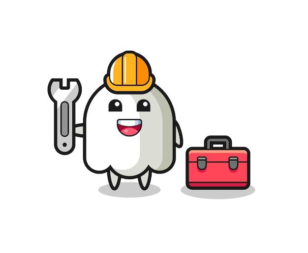 Caricatura de mascota de fantasma como mecánico, diseño de estilo lindo para camiseta, pegatina, elemento de logotipo