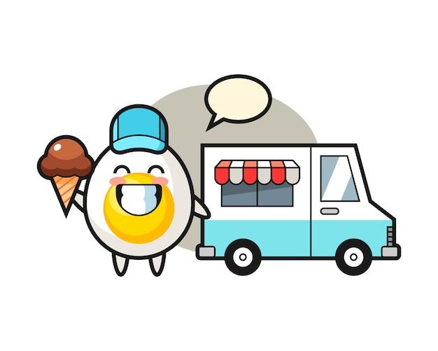 Caricatura de mascota de huevo cocido con camión de helados