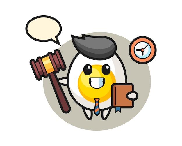 Caricatura de mascota de huevo cocido como juez