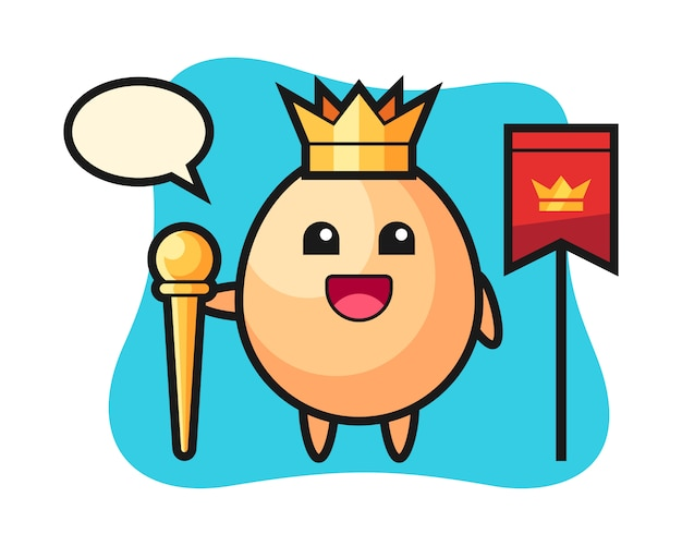 Caricatura de mascota de huevo como rey, diseño de estilo lindo para camiseta, pegatina, elemento de logotipo
