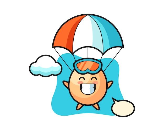 La caricatura de la mascota del huevo es paracaidismo con gesto feliz, estilo lindo para camiseta, pegatina, elemento de logotipo