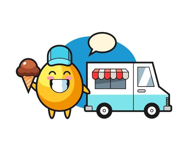 Caricatura de mascota de huevo de oro con camión de helados, diseño de estilo lindo
