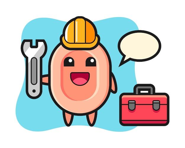Caricatura de mascota de jabón como mecánico, estilo lindo para camiseta, pegatina, elemento de logotipo