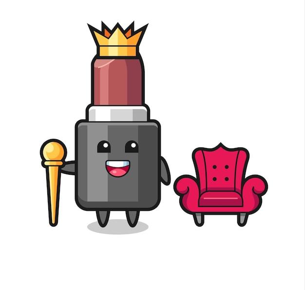 Caricatura de mascota de lápiz labial como rey, diseño de estilo lindo para camiseta, pegatina, elemento de logotipo
