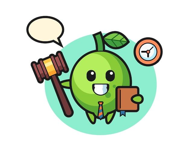 Caricatura de mascota de lima como juez, estilo lindo, pegatina, elemento de logotipo