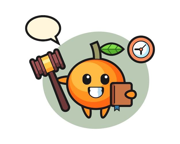 Caricatura de mascota de mandarina como juez, estilo lindo, pegatina, elemento de logotipo