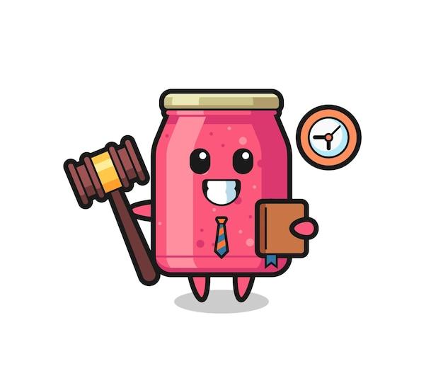 Caricatura de mascota de mermelada de fresa como juez, diseño lindo