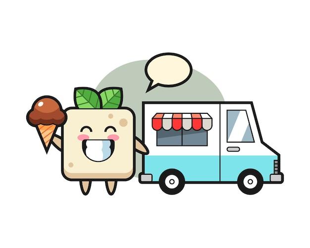 Caricatura de mascota de tofu con camión de helados, diseño de estilo lindo para camiseta