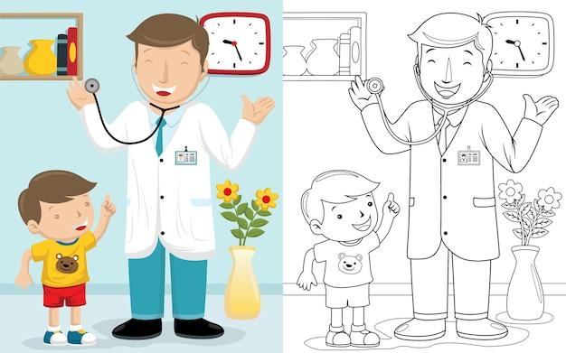 Caricatura de médico con un niño en una habitación de hospital