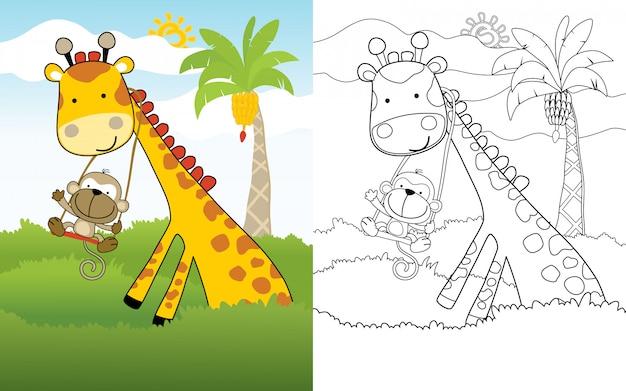 Caricatura de mono jugar swing en el cuello de la jirafa