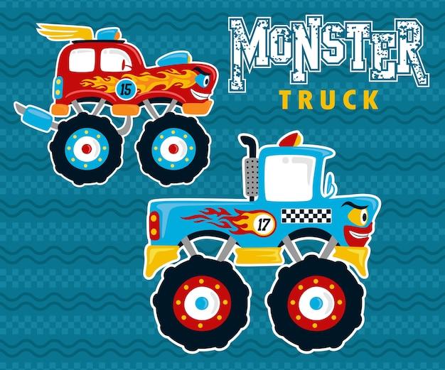Caricatura de monster truck en competencia