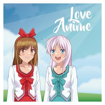 Caricatura de mujer anime de amor