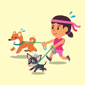 Caricatura de una mujer corriendo con sus perros