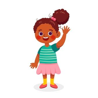 Caricatura, niña americana africana