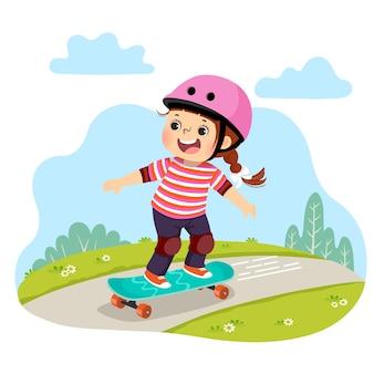 Caricatura de niña en cascos de seguridad patinando patineta en el parque