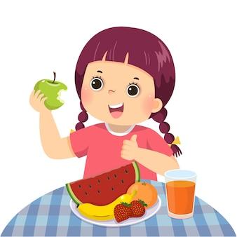 Caricatura de una niña comiendo manzana verde y mostrando el pulgar hacia arriba