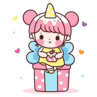 Caricatura de niña linda cumpleaños con carácter de kawaii dulce cupcake
