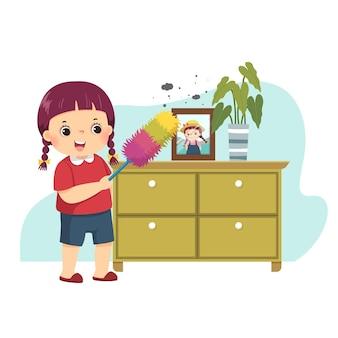 Caricatura de una niña quitando el polvo del gabinete