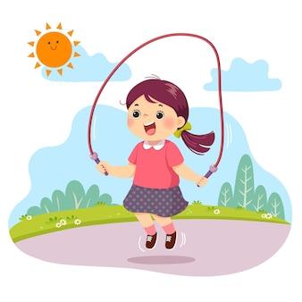 Caricatura, de, niña, saltar la cuerda, en el parque