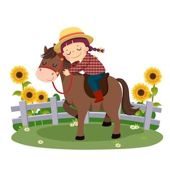 Caricatura de niño feliz montando y abrazando a su caballo