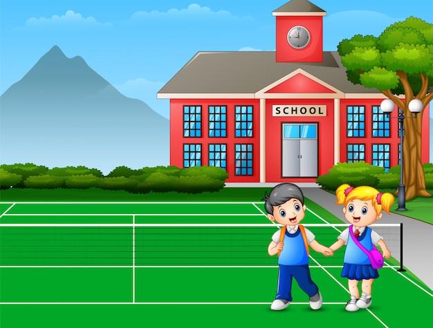 Caricatura de un niño y una niña yendo a casa después de la escuela