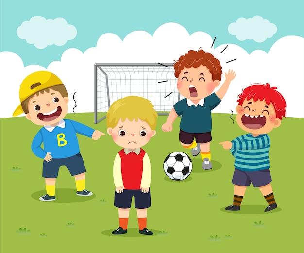 Caricatura de un niño pequeño triste siendo intimidado por sus amigos en el patio de la escuela.