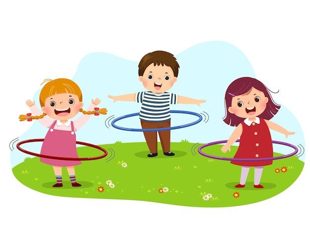 Caricatura de niños jugando hula hoop en el parque
