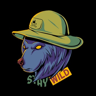 Caricatura de oso pardo con ilustración de sombrero