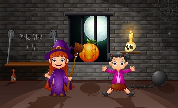 Caricatura de pequeña bruja en la casa.