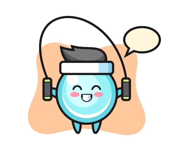 Caricatura de personaje de burbuja con saltar la cuerda, diseño de estilo lindo