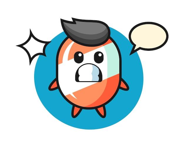 Caricatura de personaje de caramelo con gesto sorprendido