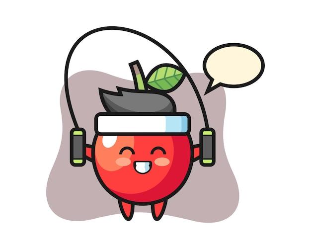 Caricatura de personaje cereza con comba, diseño de estilo lindo
