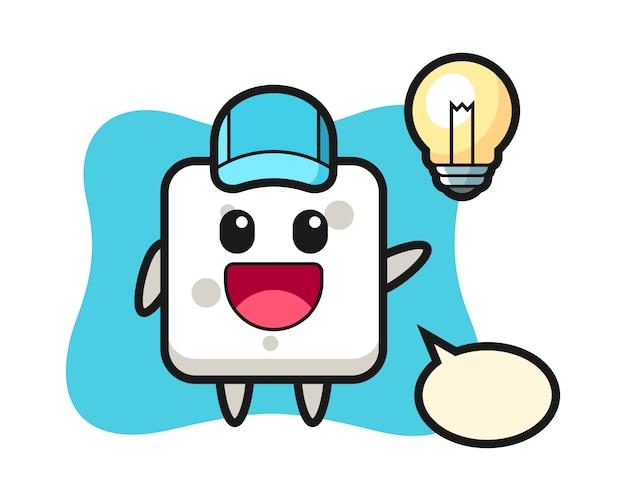 Caricatura de personaje de cubo de azúcar obteniendo la idea, estilo lindo para camiseta, pegatina, elemento de logotipo