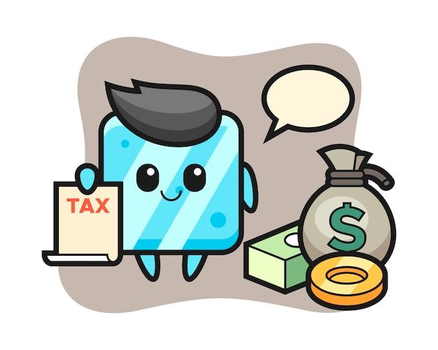 Caricatura de personaje de cubo de hielo como contador