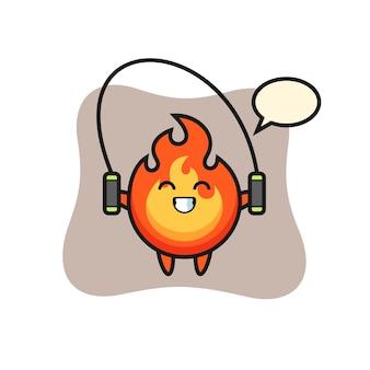 Caricatura de personaje de fuego con cuerda de saltar, diseño de estilo lindo para camiseta, pegatina, elemento de logotipo
