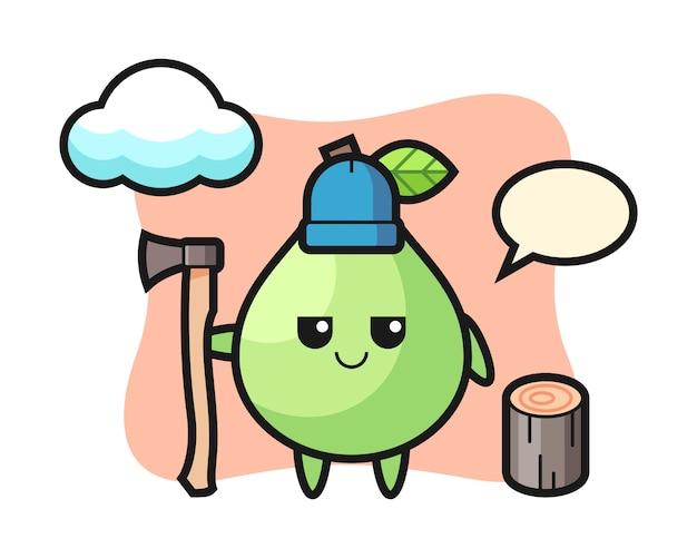 Caricatura de personaje de guayaba como leñador, diseño de estilo lindo para camiseta, pegatina, elemento de logotipo
