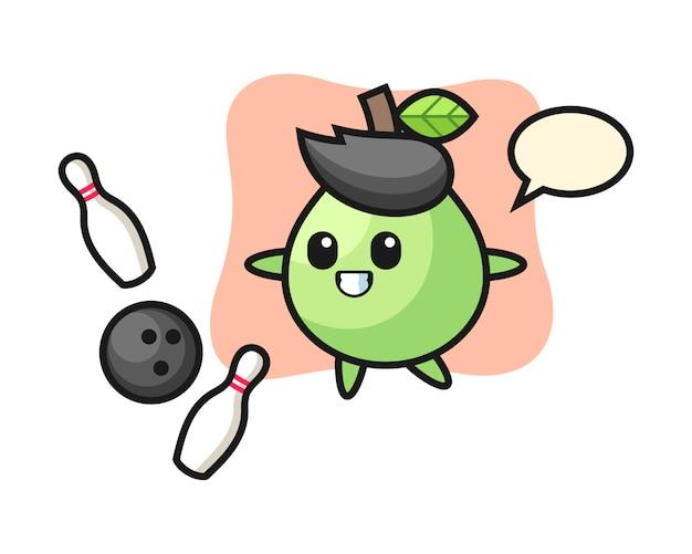 Caricatura de personaje de guayaba está jugando bolos, diseño de estilo lindo para camiseta, etiqueta, elemento de logotipo