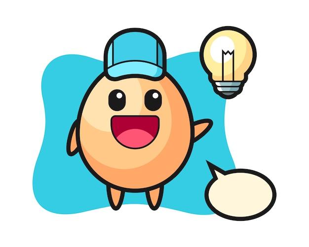 Caricatura de personaje de huevo obteniendo la idea, estilo lindo para camiseta, pegatina, elemento de logotipo