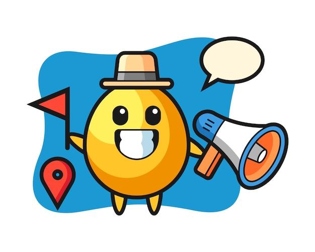 Caricatura de personaje de huevo de oro como guía turístico, diseño de estilo lindo