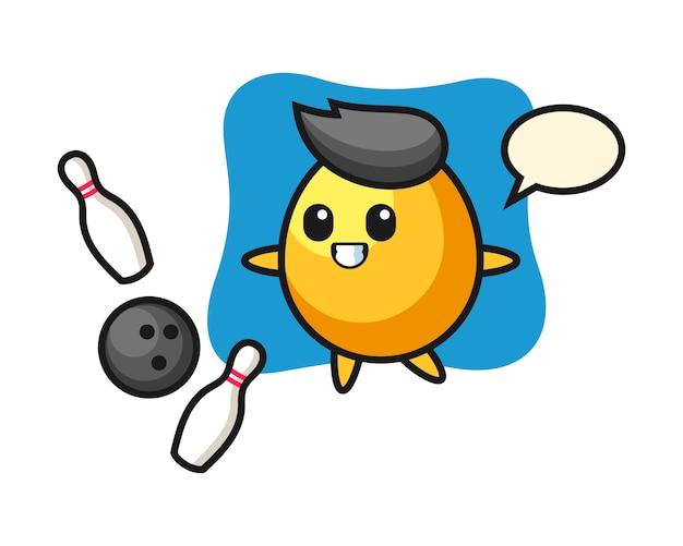 Caricatura de personaje de huevo de oro está jugando bolos, diseño de estilo lindo