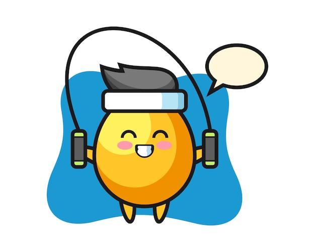 Caricatura de personaje de huevo de oro con saltar la cuerda, diseño de estilo lindo