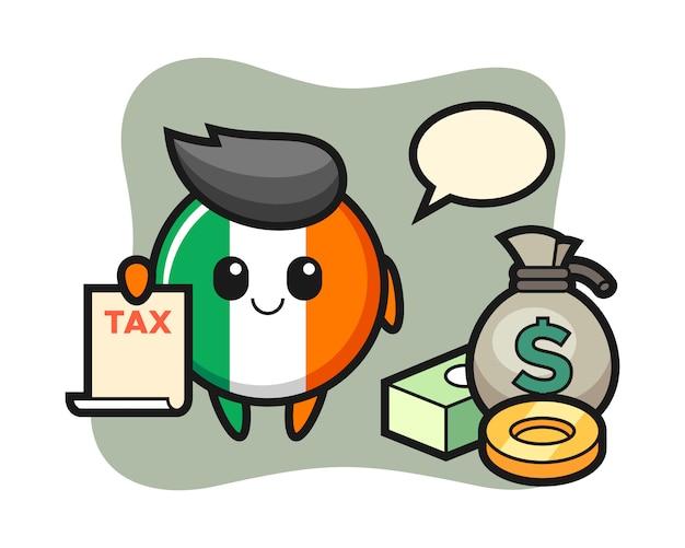 Caricatura de personaje de la insignia de la bandera de irlanda como contador
