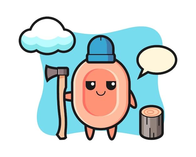Caricatura de personaje de jabón como leñador, estilo lindo para camiseta, pegatina, elemento de logotipo