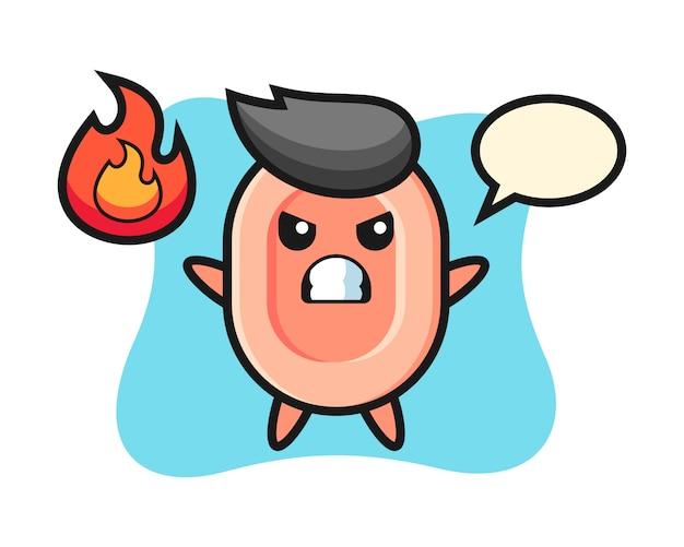Caricatura de personaje de jabón con gesto enojado, estilo lindo para camiseta, pegatina, elemento de logotipo
