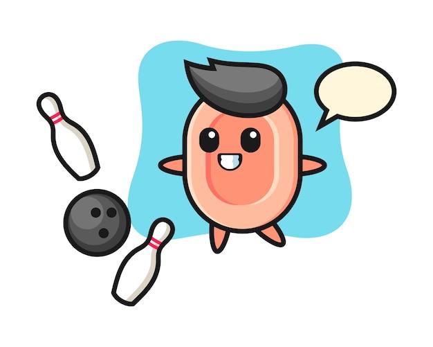 Caricatura de personaje de jabón está jugando bolos, estilo lindo para camiseta, pegatina, elemento de logotipo