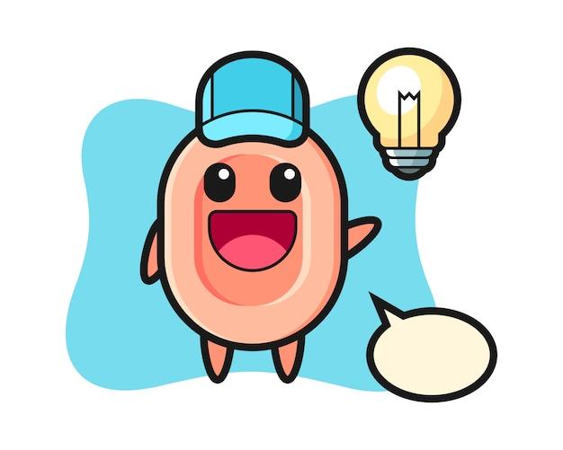Caricatura de personaje de jabón obteniendo la idea, estilo lindo para camiseta, pegatina, elemento de logotipo