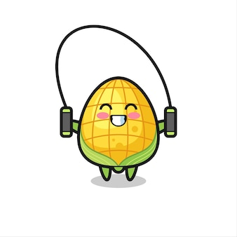 Caricatura de personaje de maíz con comba, diseño de estilo lindo para camiseta, pegatina, elemento de logotipo